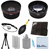 Vivitar 62mm 0.43x Wide Angle Lens + 2.2x Telephoto Lens with Deluxe Lens Accessories Kit for Vivitar Pro Series 62mm 2.2x High Definition AF Telephoto Lens for Sony FDR-AX1 Digital 4K Video Camera Recorder, HDR-FX7, 3CMOS HDV 1080i, HVR-V1U HDV Camcorder