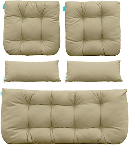 QILLOWAY Outdoor Patio Wicker Seat Cushions Group Loveseat Two U-Shape Two Lumbar Pillows for Patio Furniture,Wicker Loveseat,Bench,Porch,All Weather, Settee of 5 Beige