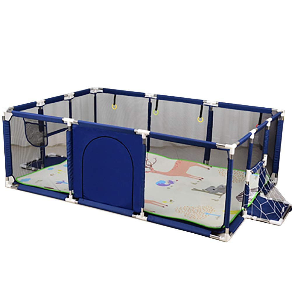 Color : Blue Baby Toddlers Play Yard with Crawling Mat YXX Indoor Portable Kids Child Boys Girls Play Pen Activity Center Room Fence