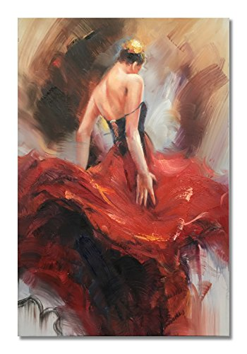 Lady Oil Painting - Paimuni Dancing Lady Paintings, 100% Hand Painted Attractive Dancing Woman Girl in Red Dress Oil Painting on Canvas Wall Art Stretched and Framed Ready to Hang Wall Décor (RD6, 24X36inch)