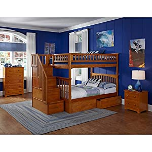 Atlantic Furniture Columbia Staircase Bunk Bed with Flat Panel Bed Drawers