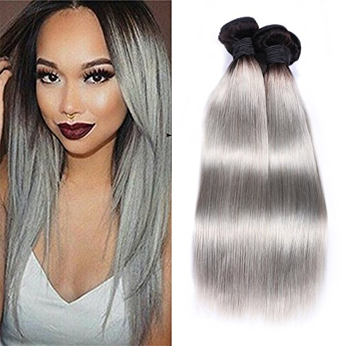 IUEENLY Ombre Brazilian Hair Bundles 2 Tone 1B/Gray Brazilian Virgin Hair Straight 3 Bundles Human Hair Weave Extwnsions Black To Gray Color (12 14 16inch) from IUEENLY