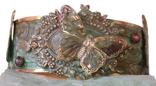 Verdigris Patina Victorian Butterfly Motif Cuff Bracelet – Amethyst, Carnelian