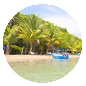 alfombrilla de ratón Barcos en la playa Estrella de mar, archipiélago de Bocas del Toro - ronda - 20cm
