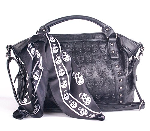 Leather Women Skull Black Ladies Satchel Big Handbags for Women Soft with Pockets and Tote Purses Clearance on ()