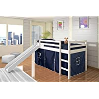Kids Twin Low Loft Bed w/ Slide and Tent - White w/ Blue Tent