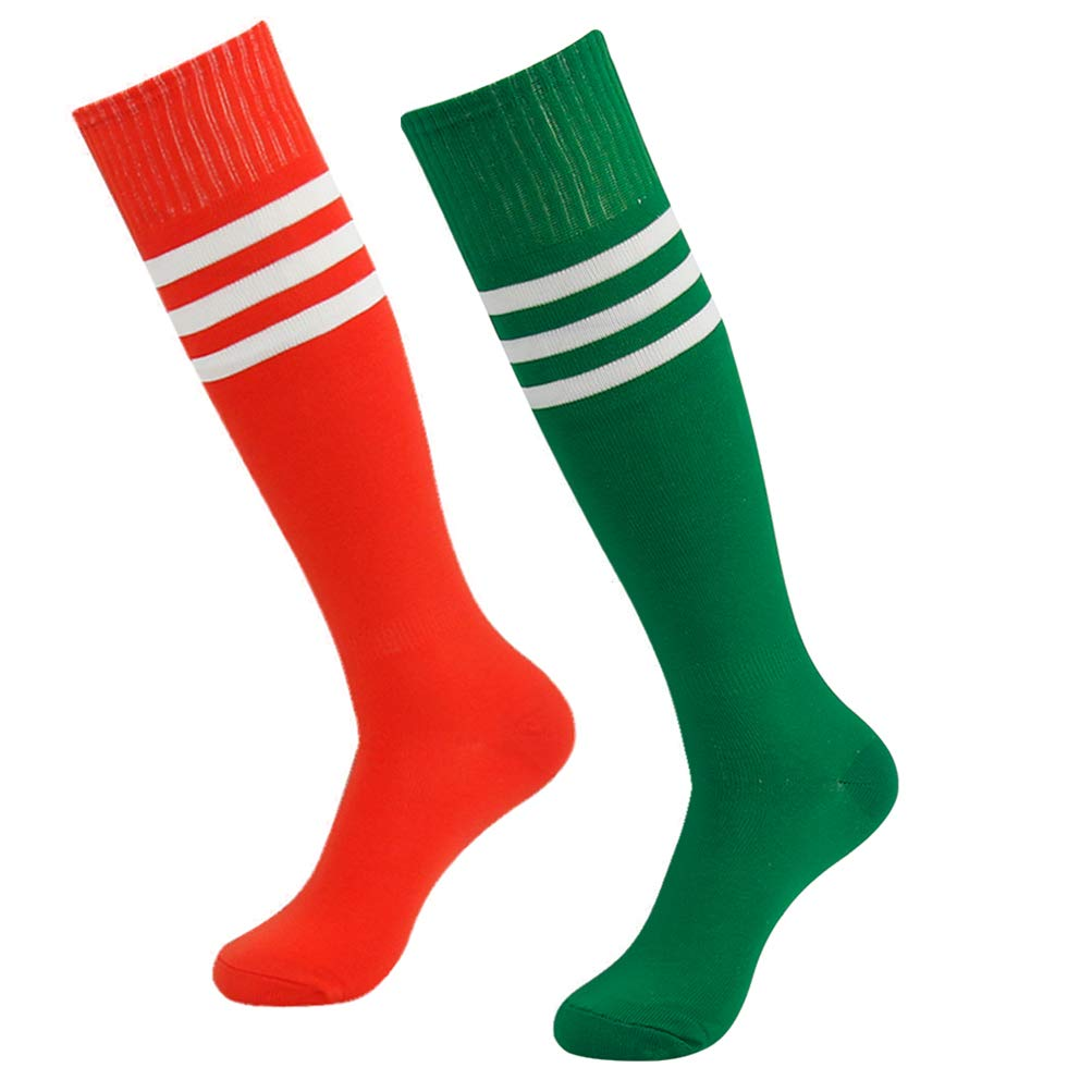 saillsen Team Socks Men and Women Soccer Knee High Triple Stripe Breathable & Compression Athletic Football 2 Pairs Red & Green White Stripe One Size by saillsen