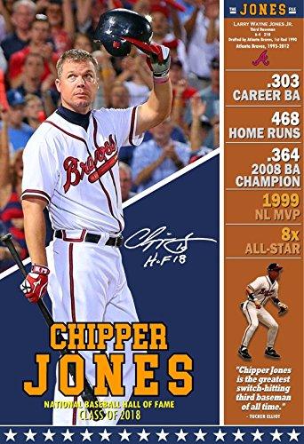 PosterWarehouse2017 Chipper Jones - Braves Superstar 3RD Baseman - Hall of Fame Commemorative Poster