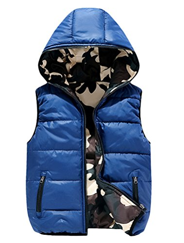 Vest Down Waistcoat - Mallimoda Boys Lightweight Hooded Puffer Down Vest Jacket Waistcoat Double Side Wear Blue 13-14 Years