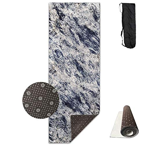Workout Mat for Yoga, Non-Slip Fashion-Forward Black Marble Printed Yoga Mat Aerobic Exercise Mat Pilates Mat Baby Crawling Mat with Carrying Bag Great for Man/Women/Baby Eco Friendly Workout Mat -