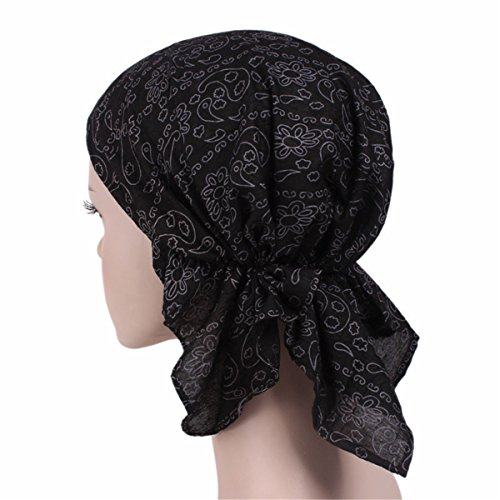 Qhome Women's Turban Cotton Head Wrap Various Printing Design Pre Tied Fitted Bandana Head Scarf Bandit (Baby Bandit Costume)