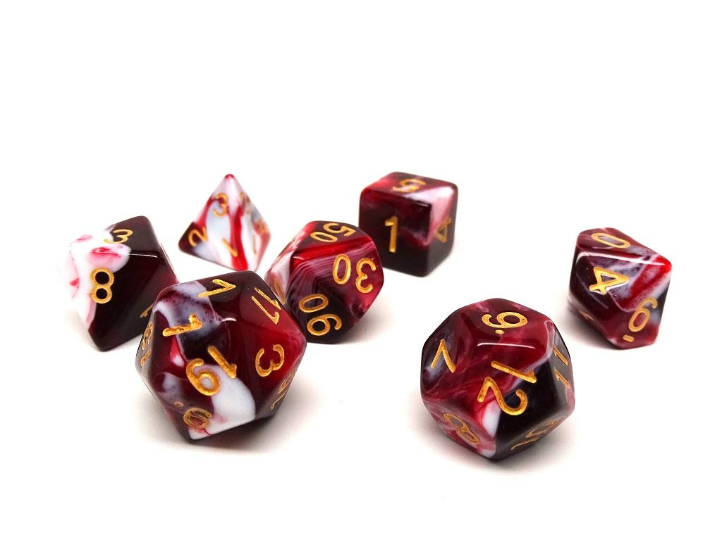 Free Dice Bag Included Black Cherry Swirl Dice Set 7 Piece Hand Checked Quality