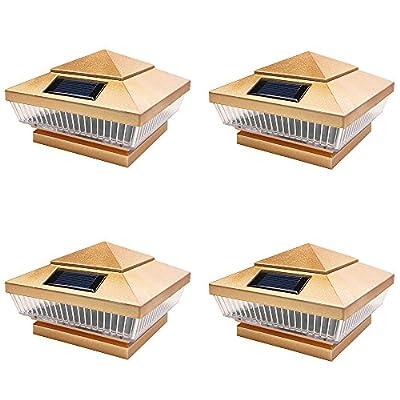 iGlow 4 Pack Copper/Silver Outdoor Garden 4 x 4 Solar 5-LED Post Deck Cap Square Fence Light Landscape Lamp PVC Wood