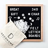 "Changeable Felt Letter Board | 10"" x 10"" Oak Wood Frame 
