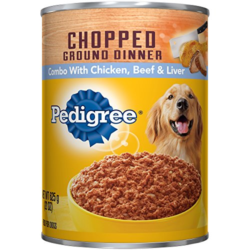 PEDIGREE Meaty Ground Dinner Chopped Chicken, Beef & Liver Canned Dog Food 22 Ounces (Pack of 12)