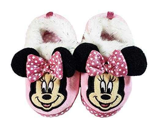 Disney Minnie Mouse Toddler Slippers (Light Pink, White Polka Dot, Black Ears, White and Silver Fur Cuff) (7/8, Light ()