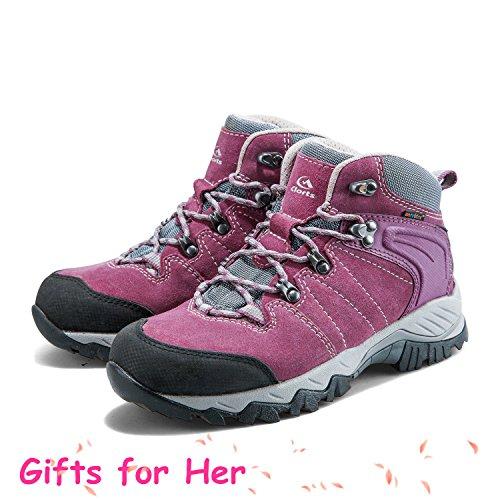 Clorts Femmes Randonneur En Cuir Gtx Étanche Randonnée Botte De Randonnée En Plein Air Chaussures Hkm822 Violet