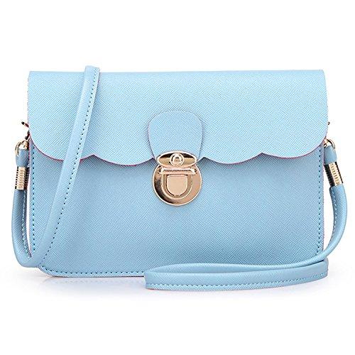 Meoaeo Nueva Moda Coreana Bolso Bolso De Hombro Doble Cream-Colored Light blue