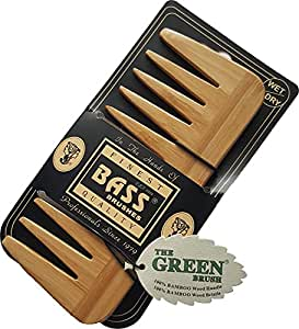 """Medium (6 X 2.5 Inch) Wide Tooth Wood Comb (1/4"""" Space) By Bass Brushes"""