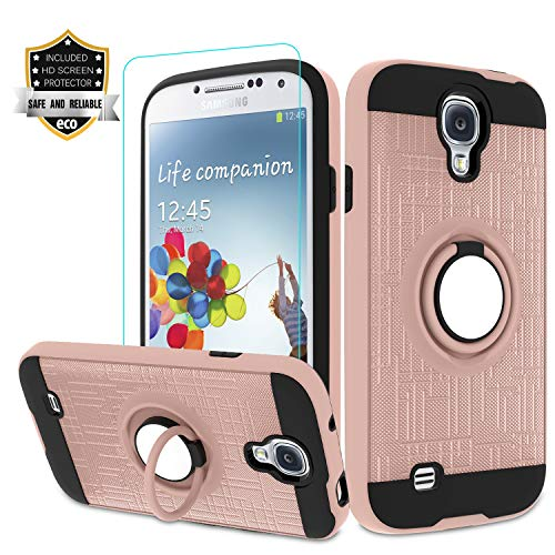 Galaxy S4 Case, Galaxy S4 Phone Case with HD Screen Protector,Atump 360 Degree Rotating Ring Holder Kickstand Bracket Cover Phone Case for Samsung Galaxy S4 Rose Gold