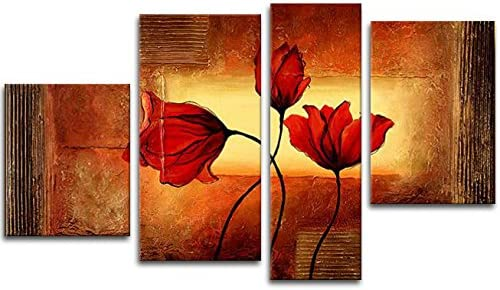 Wieco Art 4 Piece Floral Oil Paintings on Canvas Wall Art Decor for Living Room Bedroom Home Decorations Red Poppies in Warm Modern 100 Hand Painted Framed Contemporary Grace Brown Flowers Artwork