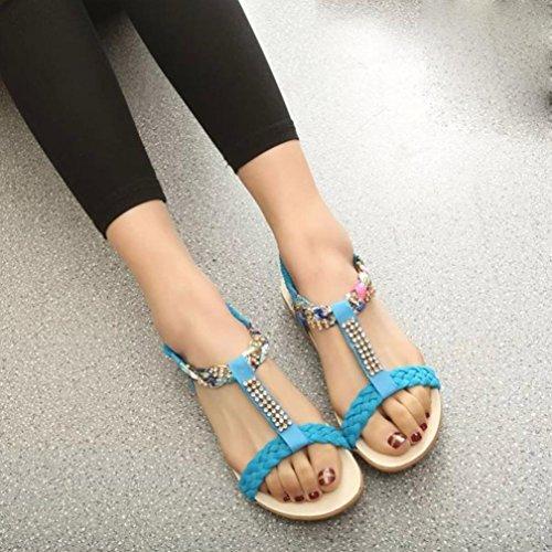 Binmer (tm) Vrouwen Elastische Band Schoenen Casual Comfort Sandalen Blauw