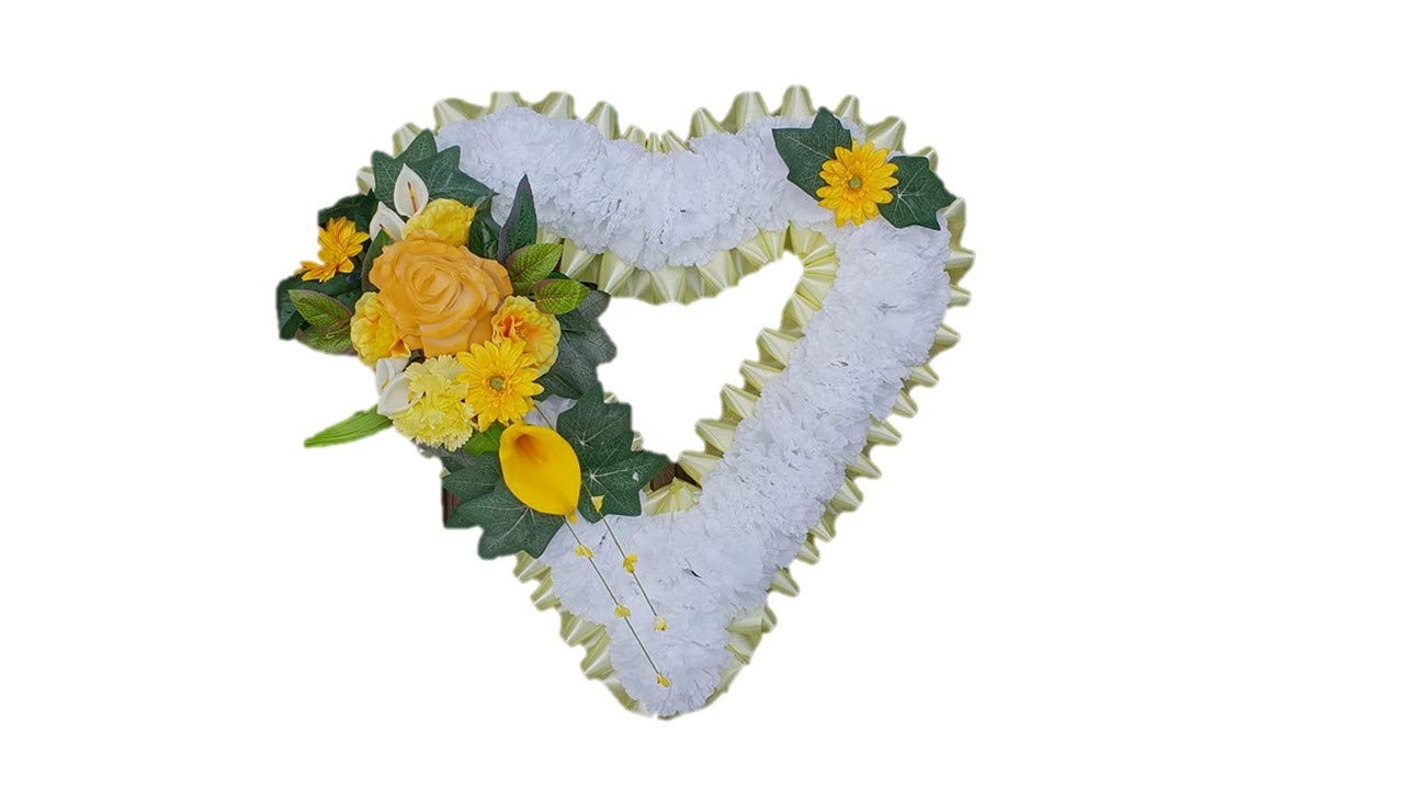 stems of elegance Open Heart Shaped-Silk-Artificial-Funeral-Flowers-Wreath-Memorial-Grave-Tribute-18x18 approx (Yellow)