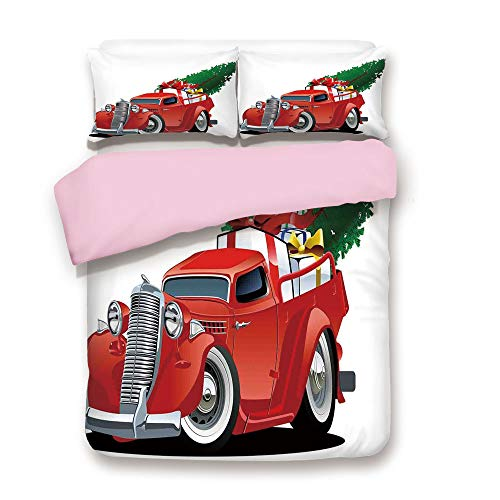 Pink Duvet Cover Set,Queen Size,Vintage American Truck with Large Xmas Tree and Gift Boxes in Pickup Retro Vehicle Decorative,Decorative 3 Piece Bedding Set with 2 Pillow Sham,Best Gift For Girls -