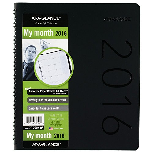 AT-A-GLANCE Monthly Planner 2016, 9 x 11 Inches, Contemporary, Black (70-260X-05)