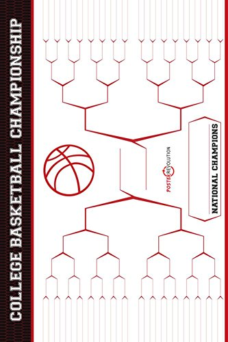 Laminated March Madness Bracket - NCAA Basketball Art Print 24 x 36in