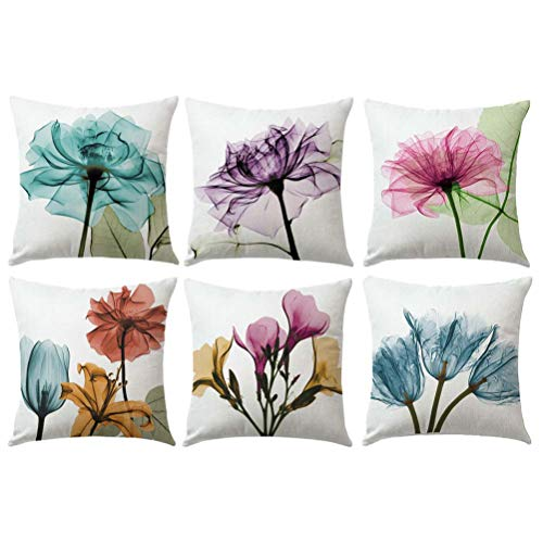 - ULOVE LOVE YOURSELF Ink Painting Tulips Throw Pillow Cover Multicolor Flowers Home Decorative Pillowcases Art Painting Floral Cushion Covers 18