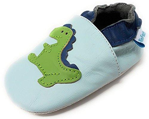 MiniFeet Premium Weich Leder Babyschuhe Jungen und Mädchen 0-6, 6-12, 12-18, 18-24 Monate und 2-3, 3-4 Jahre Dinosaurier