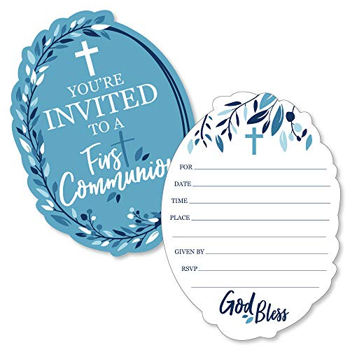 First Communion Blue Elegant Cross - Shaped Fill-in Invitations - Boy Religious Party Invitation Cards with Envelopes - Set of 12