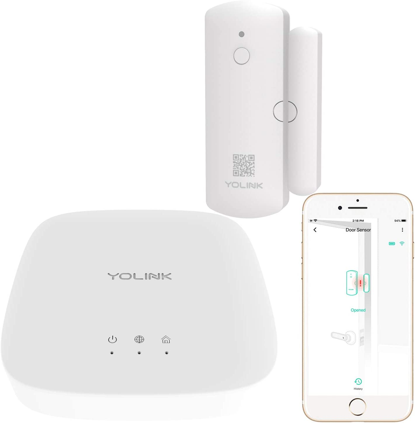 YoLink Door Sensor, 1/4 Mile World's Longest Range Smart Home Wireless Window Door Sensor Compatible with IFTTT (1 Door Sensor with Hub)