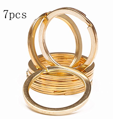 Shapenty 1.2 Inch Flat Split Key Chain Ring Connector Metal Keychain Part Keyring Clip Loop Holder (Gold, 7PCS)