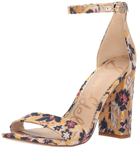 Sam Edelman Women's Yaro Heeled Sandal, Tuscan Yellow/Multi, 9.5 W US