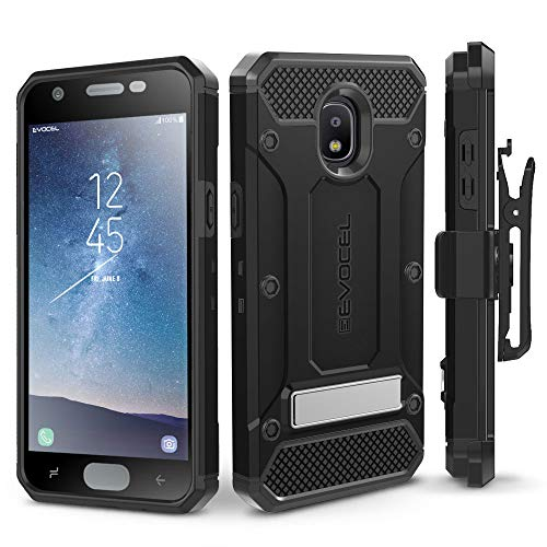 (Evocel Explorer Series Pro Compatible with Galaxy J3 2018/ J3 V 3rd Gen/Express Prime 3/ J3 Achieve/ J3 Star/Amp Prime 3 Heavy Duty Protection Case w/Tempered Glass, Holster, Kickstand - Black )