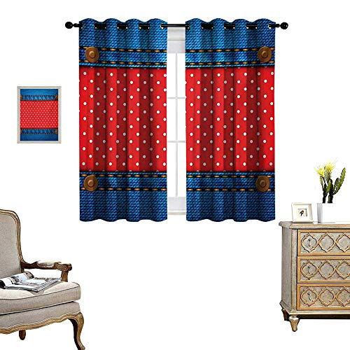 Polka Dots Window Curtain Fabric Jeans Pockets Frame Print with Little Polka Dots Traditional European Art Design Drapes for Living Room W63 x L63 Blue Red