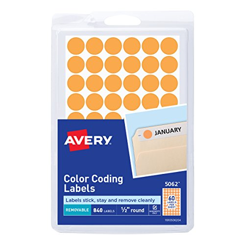 (Avery Removable Color Coding Labels, 0.5 Inch, Round, Neon Orange, Pack of 840 (5062))