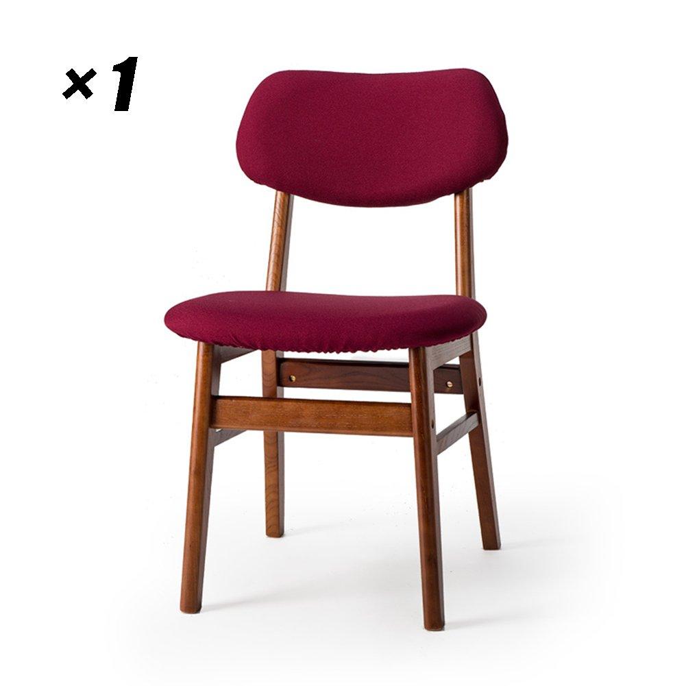 シンプルラウンジチェアソリッドウッドダイニングチェア家庭用キッチンシート50×47×77.5cm (色 : Brown, サイズ さいず : Set of 1) B07F6BYH37 Set of 1|Brown Brown Set of 1