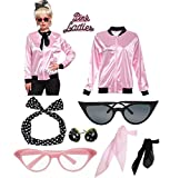 Retro 1950s Rhinestore Pink Ladies Costume Outfit Accessories Set