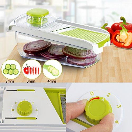 Adjustable Mandoline Food Slicer - 4 Blades - Vegetable Cutter, Cheese Grater, Julienne Vegetable Slicer & Fine Grater - Compact, Veggie Slicer Kitchen Gadget Slicer Dicer, Dishwasher Safe by Chugod (Image #2)