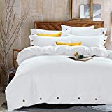 NANKO Twin Duvet Cover Set White, 2 Piece 1200 TC Hotel Luxury Hypoallergenic Microfiber Down Comforter Quilt Bedding Cover with Deco Buttons, Zipper, Ties - Best Modern Style for Men and Women