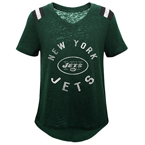 Outerstuff NFL NFL New York Jets Youth Girls Retro Block Vintage Short Sleeve Football Tee Hunter Green, Youth Small(7-8)