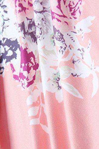 Mujeres Sin Mangas Vestido De Coctel Floral Maxi Playa Verano Pink