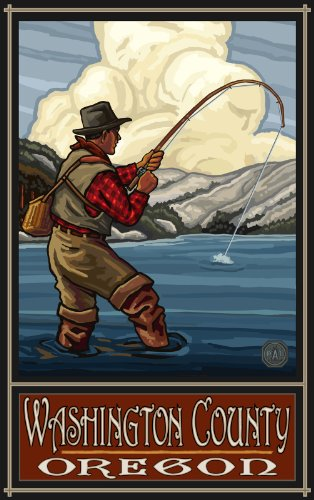 Northwest Art Mall Washington County Oregon Lake Fisherman Unframed Prints by Paul A Lanquist, 11-Inch by - Mall County South