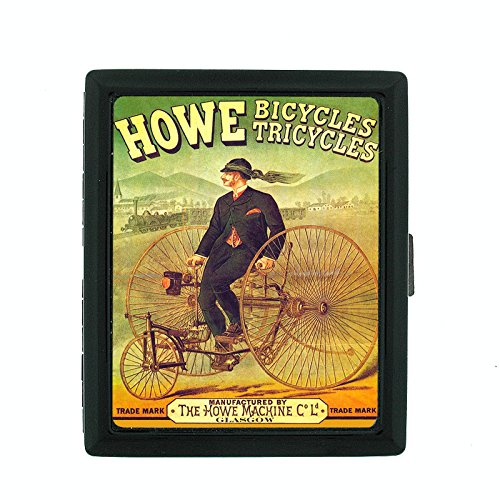 Metal Cigarette Case Vintage Poster D-150 Howe Bicycles Tricycles Howe Machine by Perfection In Style