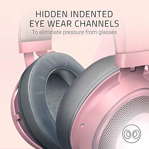 Razer Kraken Gaming Headset: Lightweight Aluminum Frame - Retractable Noise Isolating Microphone - For PC, PS4, Nintendo Switch - 3.5 mm Headphone Jack - Quartz Pink