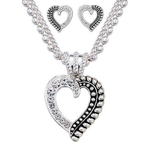 Montana Silversmiths Women's Crystal Heart Necklace And Earring Set Silver One Size - Montana Silversmiths Crystal