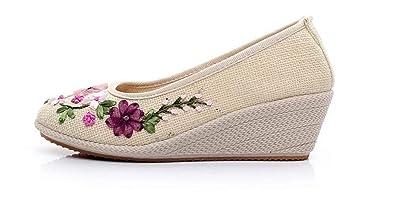 9aba05e3c9 Classic peas Shoes Flat Women's Shoes Comfortable Linen Canvas Shoes(Beige  39/8 B